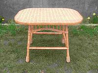 Овальный плетеный столик из лозы