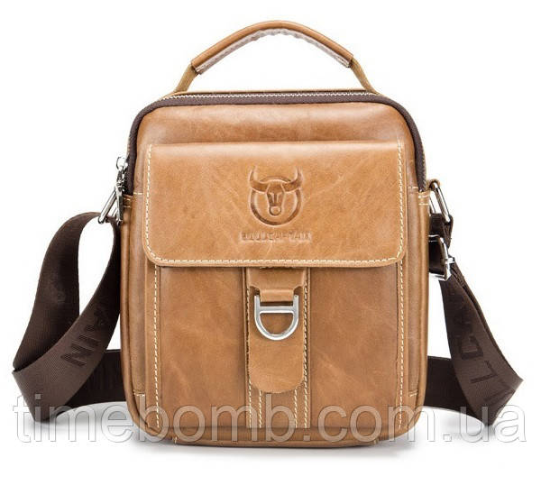 Мужская наплечная кожаная сумка барсетка BullCaptain светло коричневая 059