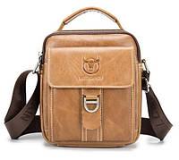 Мужская наплечная кожаная сумка барсетка BullCaptain светло коричневая 059, фото 1