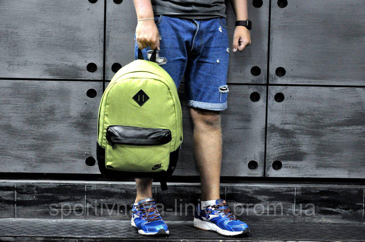 Спортивный салатовый рюкзак Nike коттон (реплика)