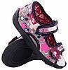 Красивые текстильные босоножки для девочки 13-112. Цветы. Размер 25