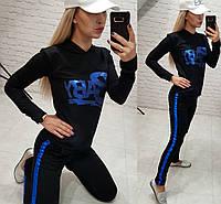 Новинка!  женский спортивный костюм  BabyТурция  двухнить черный S M L XL, фото 1