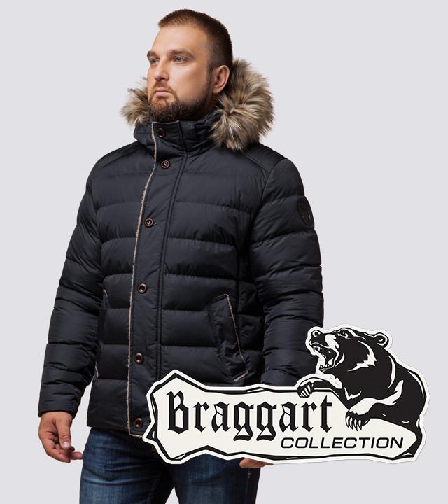 Мужская зимняя куртка с мехом на капюшоне Braggart 12149 графит