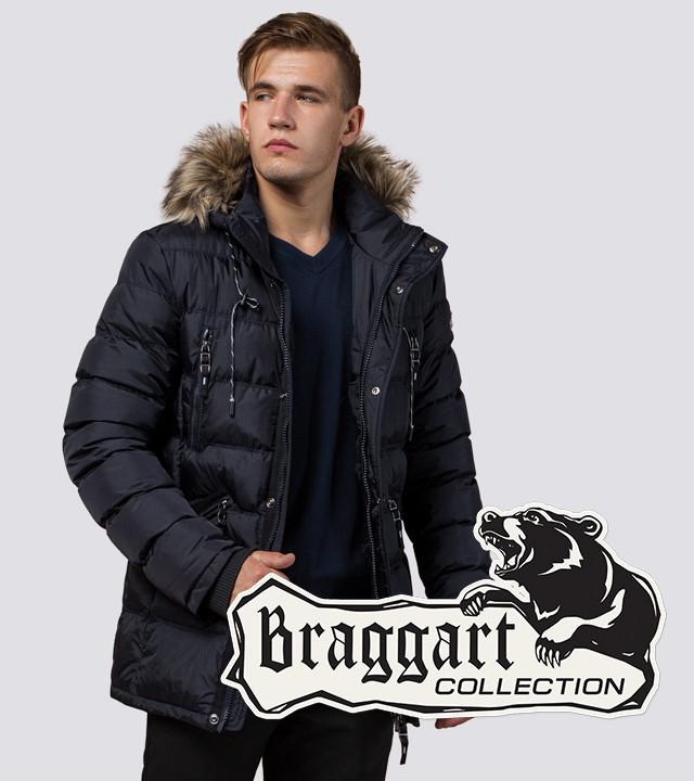 Зимняя куртка с опушкой Braggart 15335 темно-синий