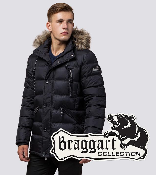 Зимняя мужская куртка с опушкой Braggart 15335 черный