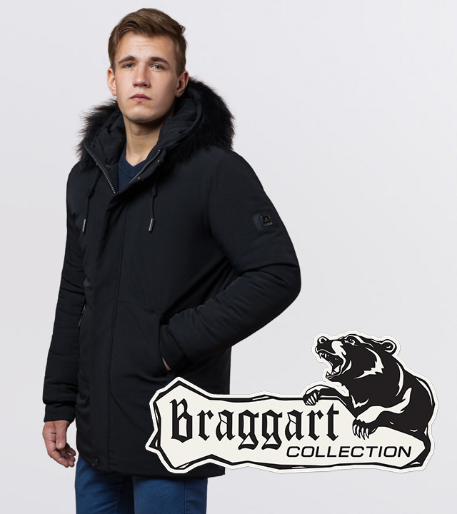 Braggart 'Black Diamond'. Зимняя куртка опушка натуральный енот 9255 черный