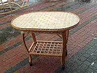 Плетеный журнальный столик на колёсиках
