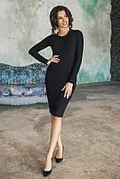 Черное Платье футляр с баской, фото 1