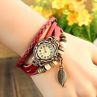 Винтажные женские часы-браслет на кожаном ремешке, 1000615 - винтажные часы наручные, кожаный браслет часы, стильные часы с листочком, женские