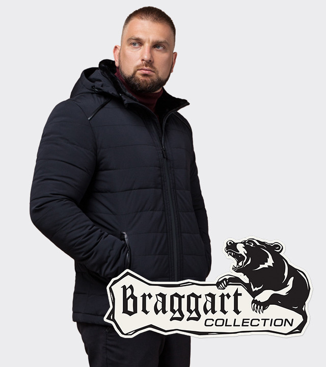 Куртка зимняя на мужчину Braggart Status TCX1001 чёрно-синий