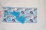 Вышиванка для девочки с длинным рукавом SmileTime 100% хлопок голубой узор, фото 2