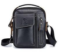 871c6677e09c Мужская кожаная наплечная сумка барсетка BullCaption 037 черная