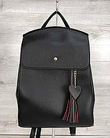Черная женская сумка-рюкзак трансформер молодежная через плечо 44604