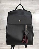 Женская сумка-рюкзак трансформер 44604 черная молодежная на плечо с сердечком