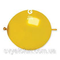 """Латексные воздушные шарики 13"""" металлик 39 золото, Gemar"""