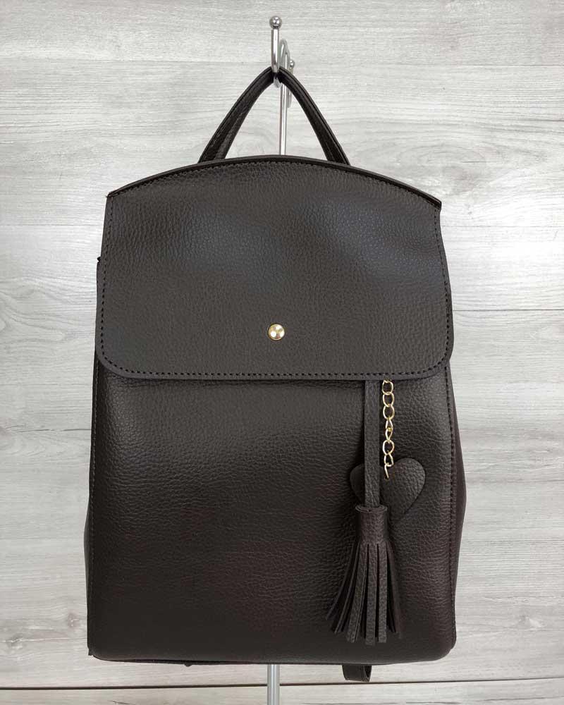 8430b4dabcdc Коричневая сумка-рюкзак трансформер женская шоколадная через плечо 44605,  фото 1