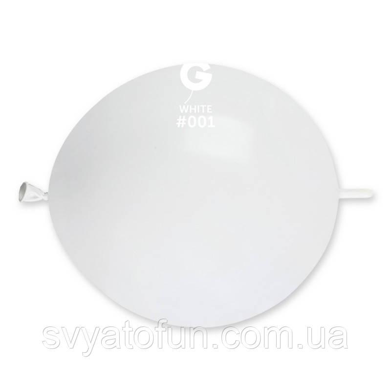 """Латексные воздушные шарики 13"""" (Tet-a-tet) пастель 01 белый Gemar"""
