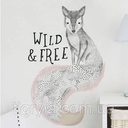 Интерьерная наклейка на стену Лиса Wild and Free, фото 2