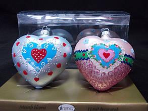 Новогодние шары на елку, набор 2 шт. Сердечки. 8 см