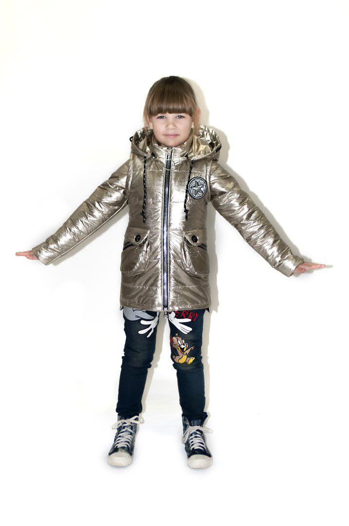 Демисезонная  куртка жилетка для девочки подростка  34-42 серебро