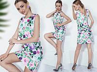 Платье женское короткое без рукавов с цветочным принтом P10393
