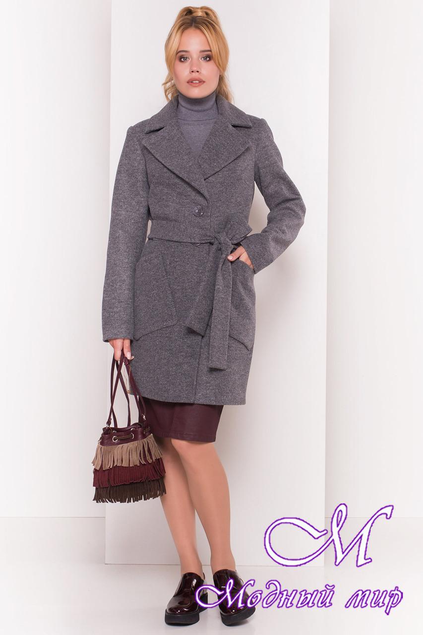 """Женское серое осеннее пальто с поясом (р. S, M, L) арт. """"Габриэлла 4417"""" - 36661"""
