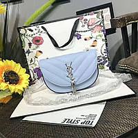 Модная сумка-клатч Ив Сен Лоран YSL эко-кожа дорогой Китай голубая