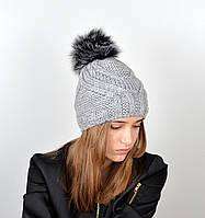Женская шапка с помпоном 3358 серый, фото 1