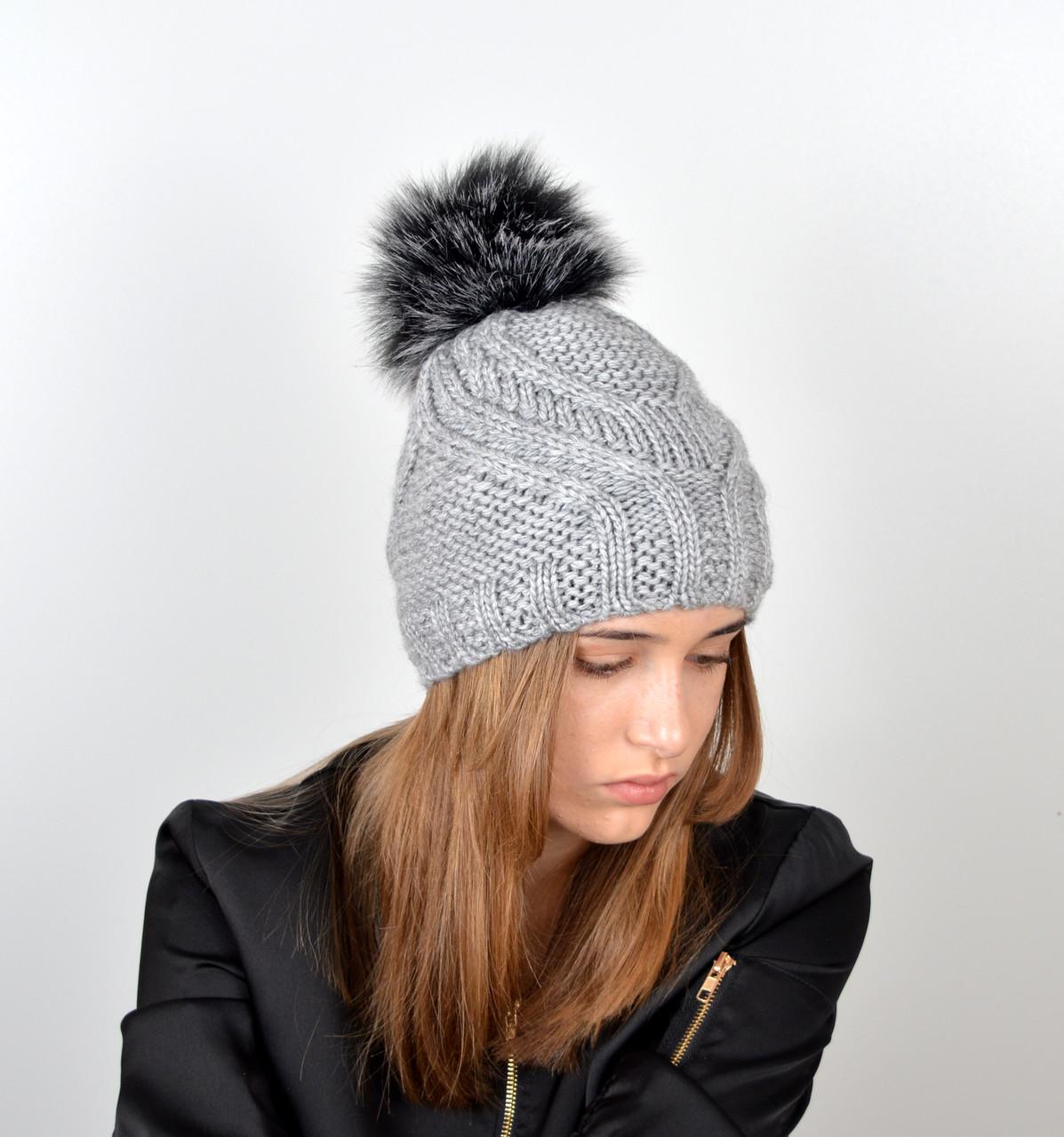 Женская шапка с помпоном 3358 серый