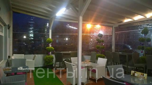 Вид тент кафе (ресторану з прозорими штромі ПВХ) зсередини ― тепло, затишно, всесезонно!