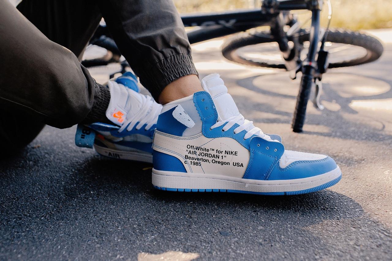 00eff8ee436f Nike Air Jordan 1 x Off-White Blue   кроссовки мужские  синие-белые ...