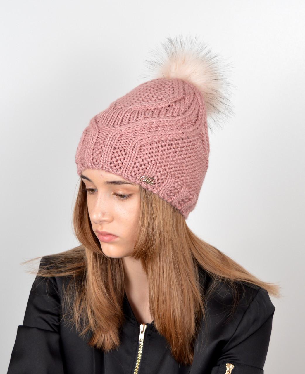 Женская шапка с помпоном 3358 т.пудра