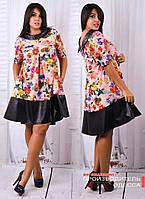 Яркое платье с свободного кроя с цветочным принтом.  Батал Фиолетовый р.52, фото 1