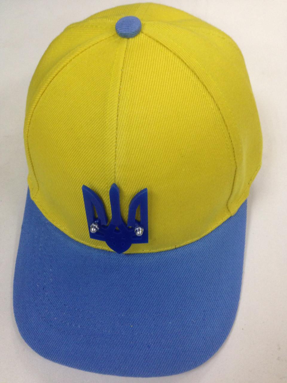 Бейсболка с украинской символикой жёлто синяя с гербом