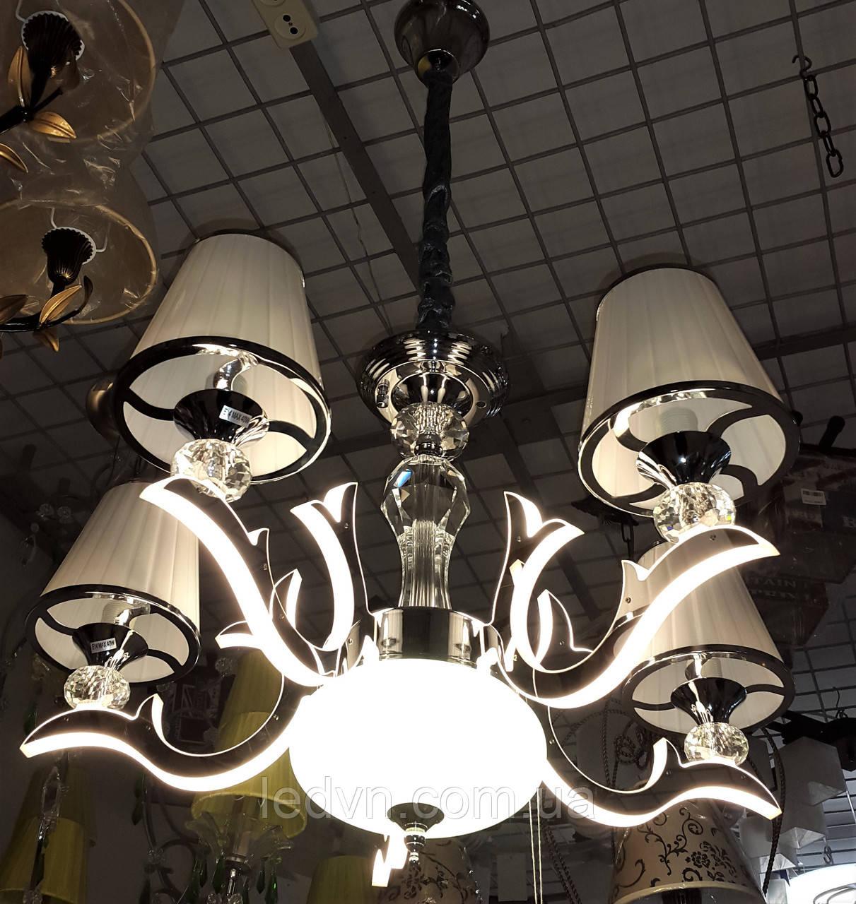 Классическая люстра на 5 ламп со светодиодными рожками LED 25W серебро