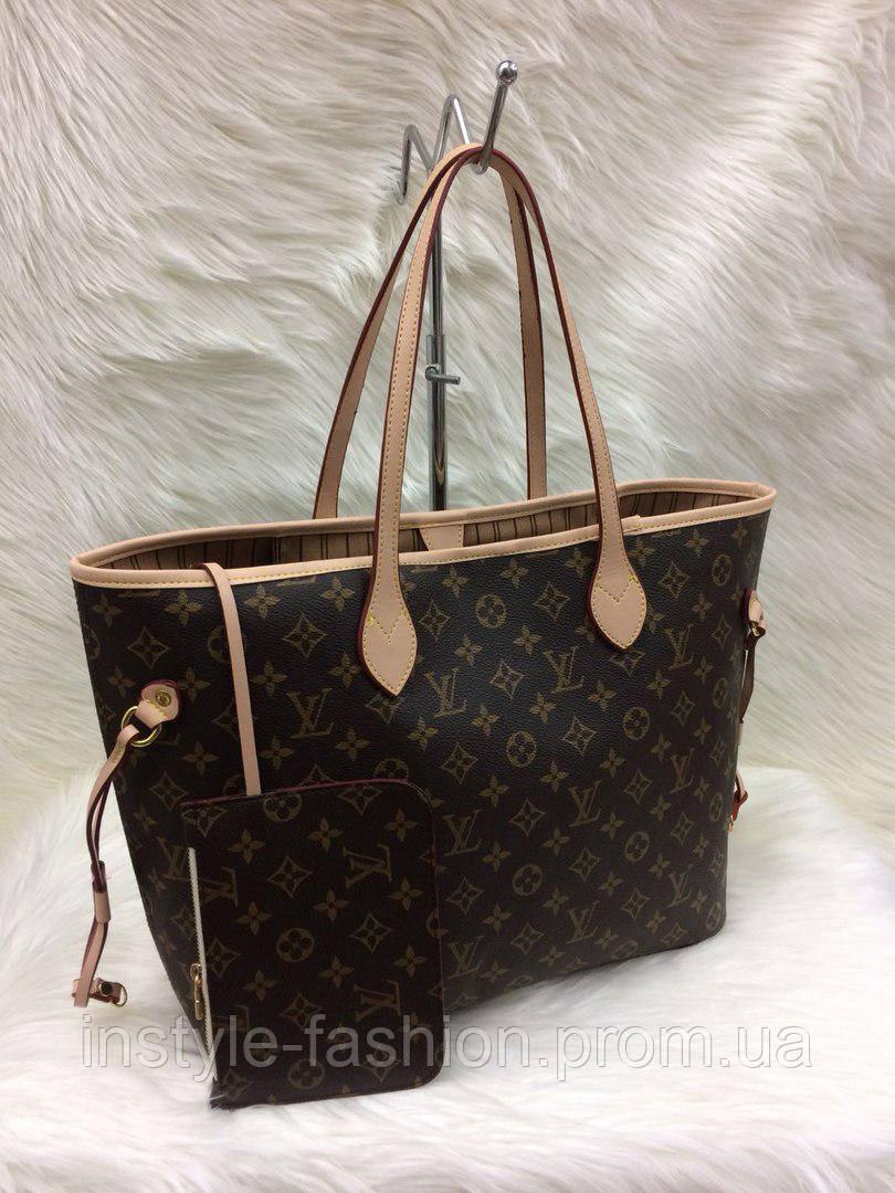 Стильная женская сумка Louis Vuitton Луи Виттон neverfull коричневая