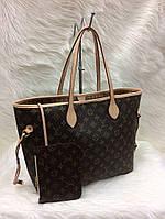 Стильная женская сумка Louis Vuitton Луи Виттон neverfull коричневая, фото 1