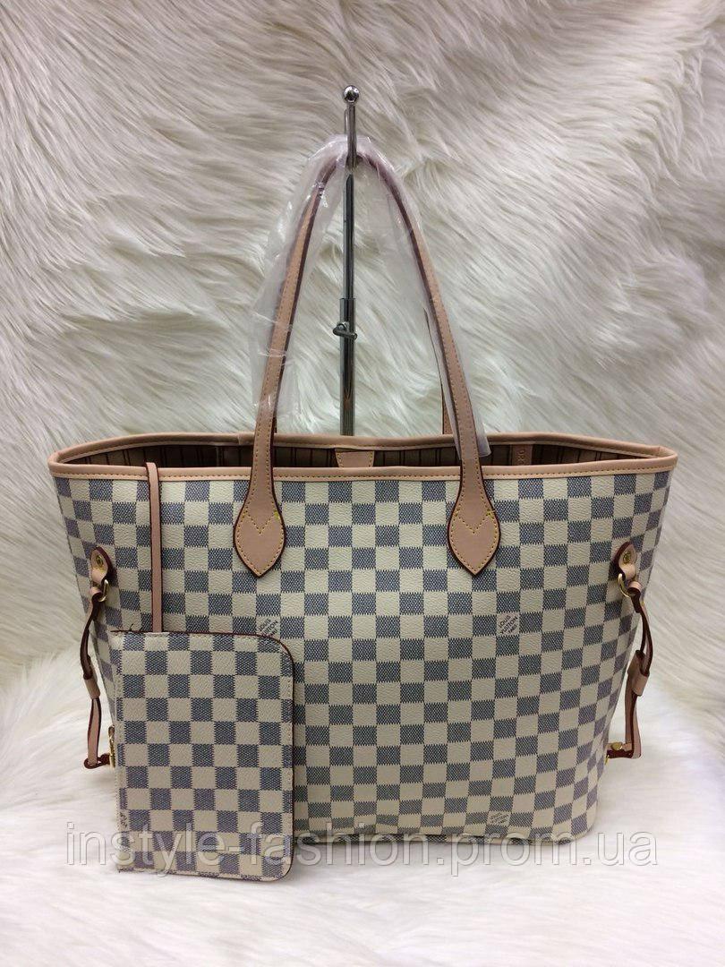 da55ac164534 Стильная женская сумка Louis Vuitton Луи Виттон neverfull белая ...