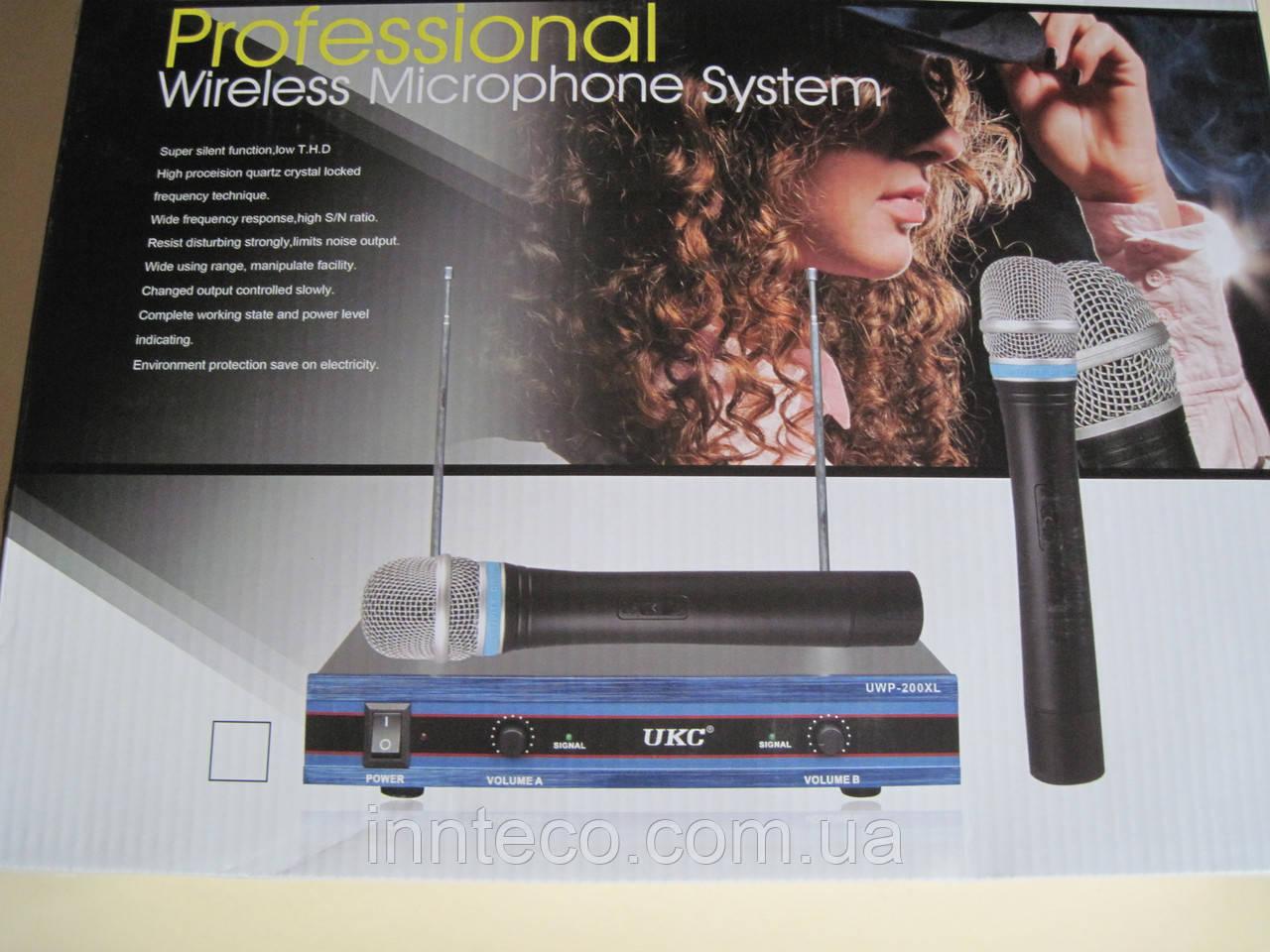 Профессиональная радиосистема  для вокала,караоке,проведения вечеринок UKC DM UWP-200 XL / База + 2 микрофона  - INNTECO в Киеве