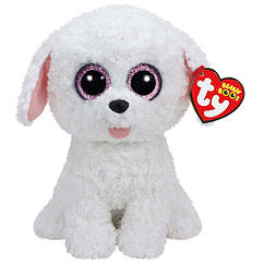 Мягкая игрушка белый Щенок Пиппи 22 см. Оригинал TY 37065