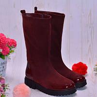 Женские замшевые лаковые сапоги бордового цвета 8c96fd19e3cad