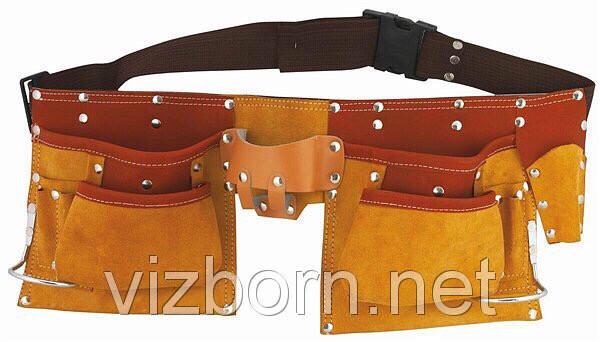 Кожаный пояс для инструментов ATEX 11 карманов, 2 скобы