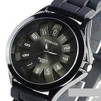 Модные женские часы WoMaGe с силиконовым ремнем черный цвет