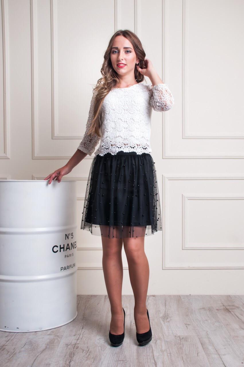 0fb32731d5d Стильная фатиновая юбка украшена бусинами