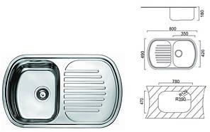 7705 Мойка CRISTAL прямоугольная с полкой врезная (с закруглёнными углами) 800x490х180 Polish, фото 2