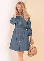Женское джинсовое платье с поясом. Модель 19137