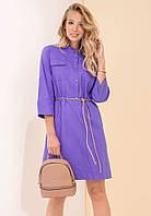 Женское джинсовое платье фиолетового цвета. Модель 19139