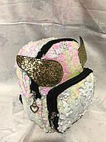 Женский  рюкзак с  ушками и пайетками, фото 1