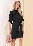 Женское джинсовое платье черного цвета. Модель 19149