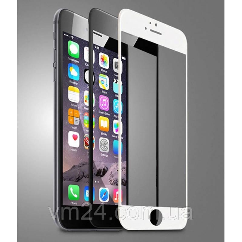 Защитное стекло для iPhone 6\6S белое .черное  на весь экран